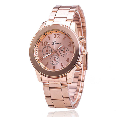 Women Analog Quartz Rose Gold Stainless Steel Geneva Dress Wrist Watch