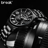 Stainless Steel Band Fashion Casual Calendar Quartz Sports Wristwatches