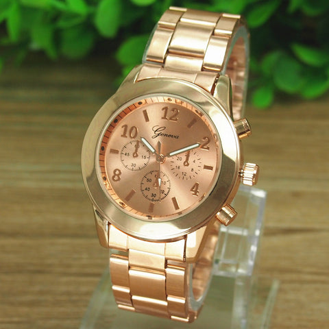 Gold Watch Ladies Women Girl Luxury Brand Stainless Steel Quartz