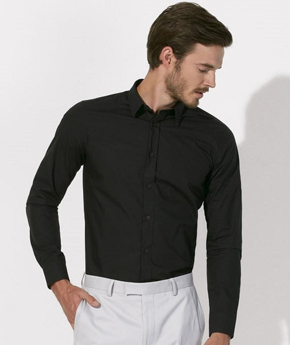 Camicia in cotone biologico NERO taglia da S A 3XL - Man shirt BLACK from size S to 3XL