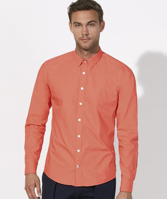 Camicia in cotone biologico ALBICOCCA ARANCIO - Man shirt APRICOT ORANGE