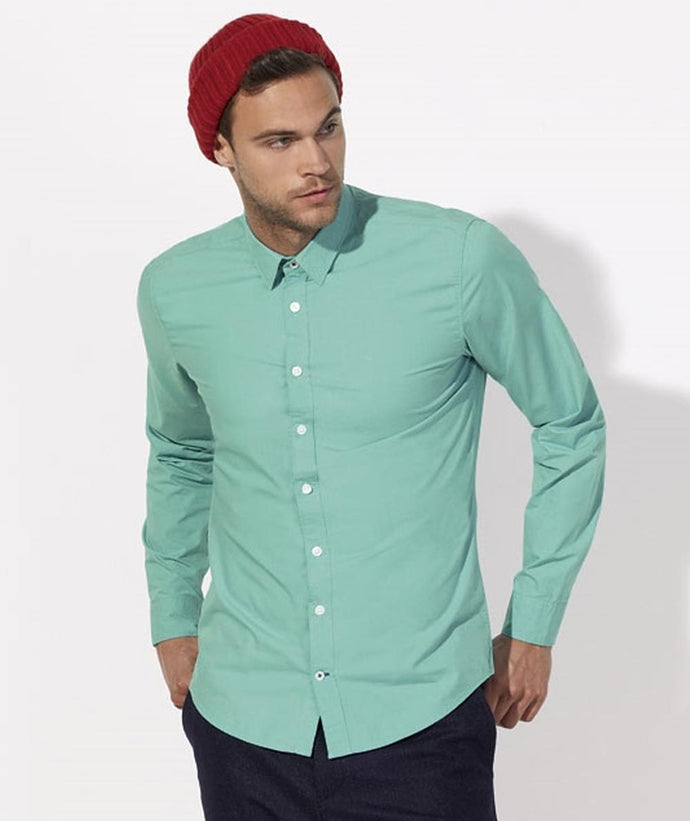 Camicia in cotone biologico VERDE MENTA - Man shirt MINT GREEN - EcoPopUp