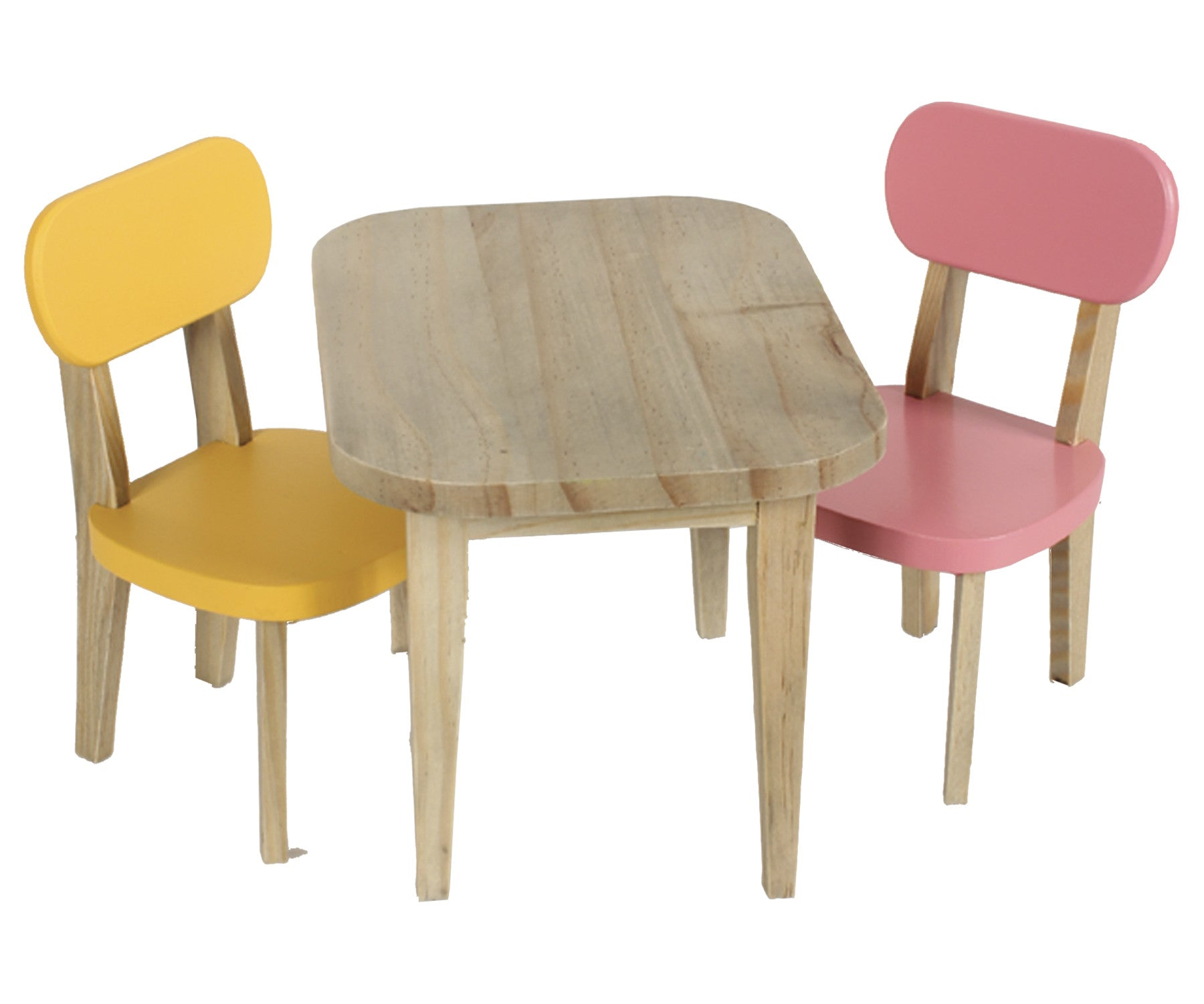 Wooden table and 2 chairs, yellow and pink