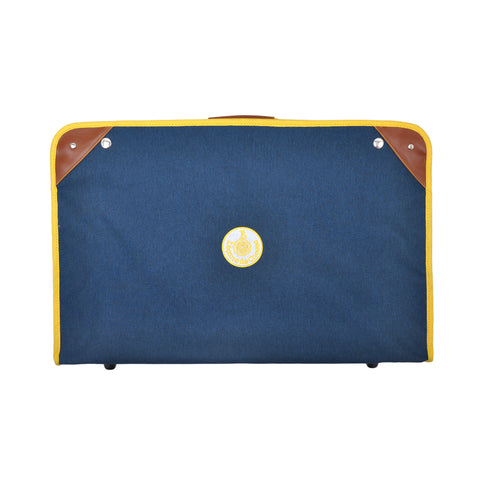 Foldable vintage suitcase blue and yellow