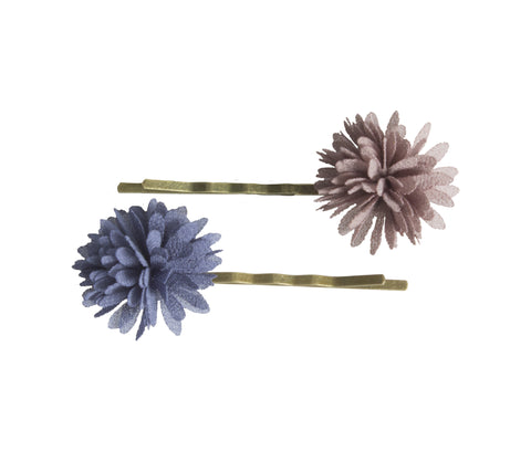 2pcs, Bobby Pins, Chiffon Flowers, Denim
