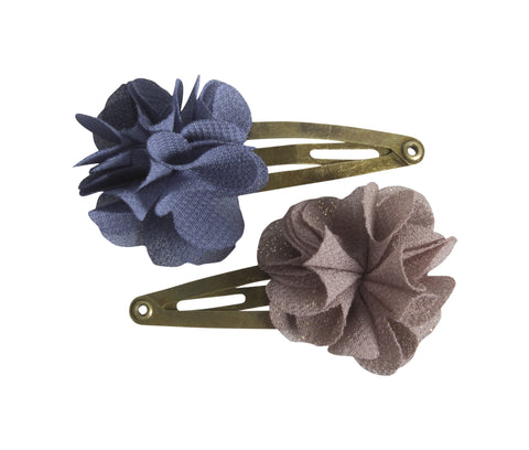 2pcs, Hair Clips, Fluffy Flower, Denim