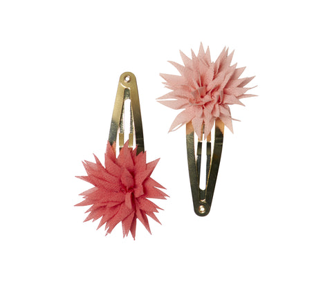 2pcs, Dahlia Flower Clips, Raspberry & Melon