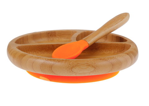 Bamboo Stay Put Suction Baby Divided Plate + Spoon (Orange)