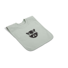 Sweat Bib with Placed Pattern - Raccoon / Green