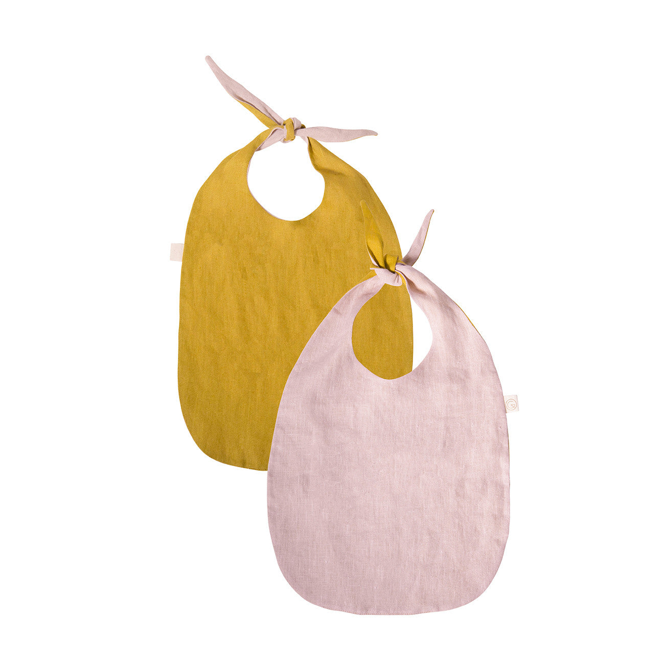 Double-Sided Bib - LINEN (Mustard &  Pink)