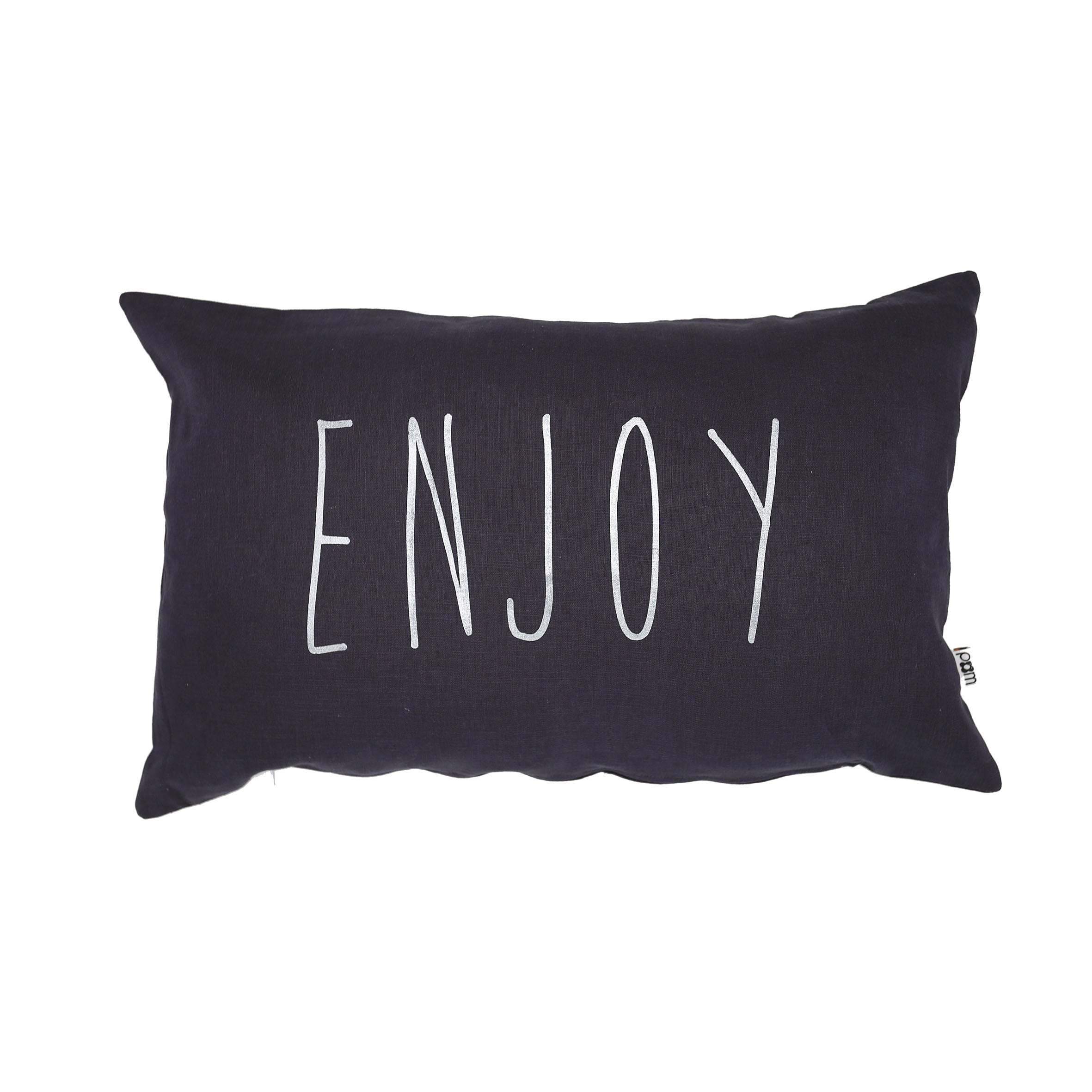Handmade Cushion (Enjoy) - Charcoal Grey
