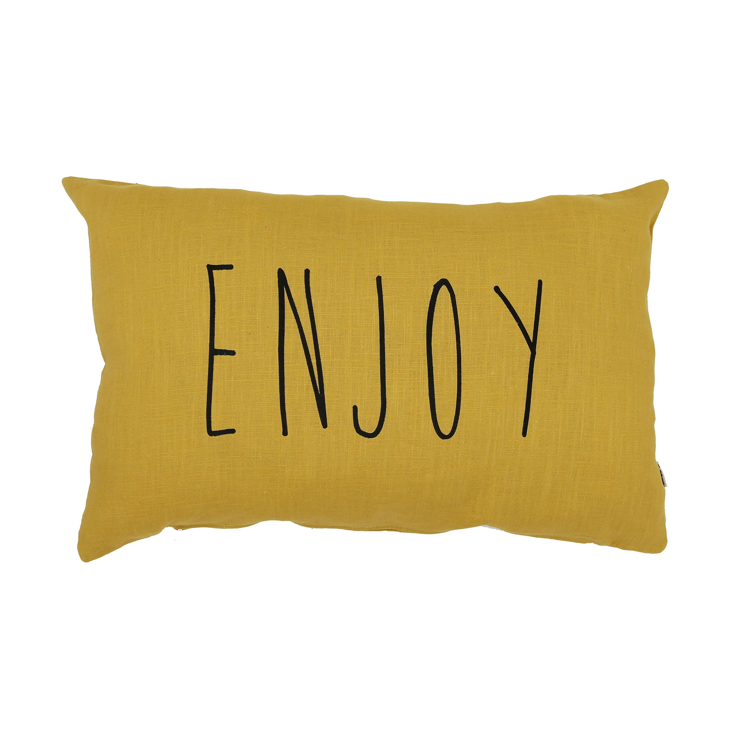 Handmade Cushion (Enjoy) - Mustard