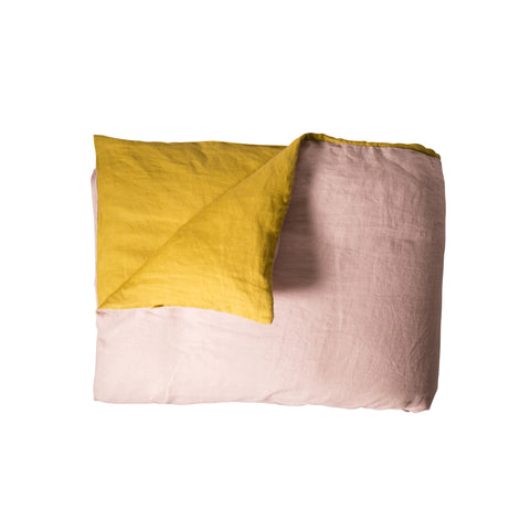 Double-Sided Duvet Cover - LINEN (Mustard and Powder Pink)