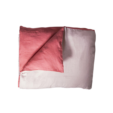 Double-Sided Duvet Cover - LINEN (Red and Powder Pink)