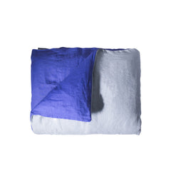 Double-Sided Duvet Cover - LINEN (Blue and Light Blue)
