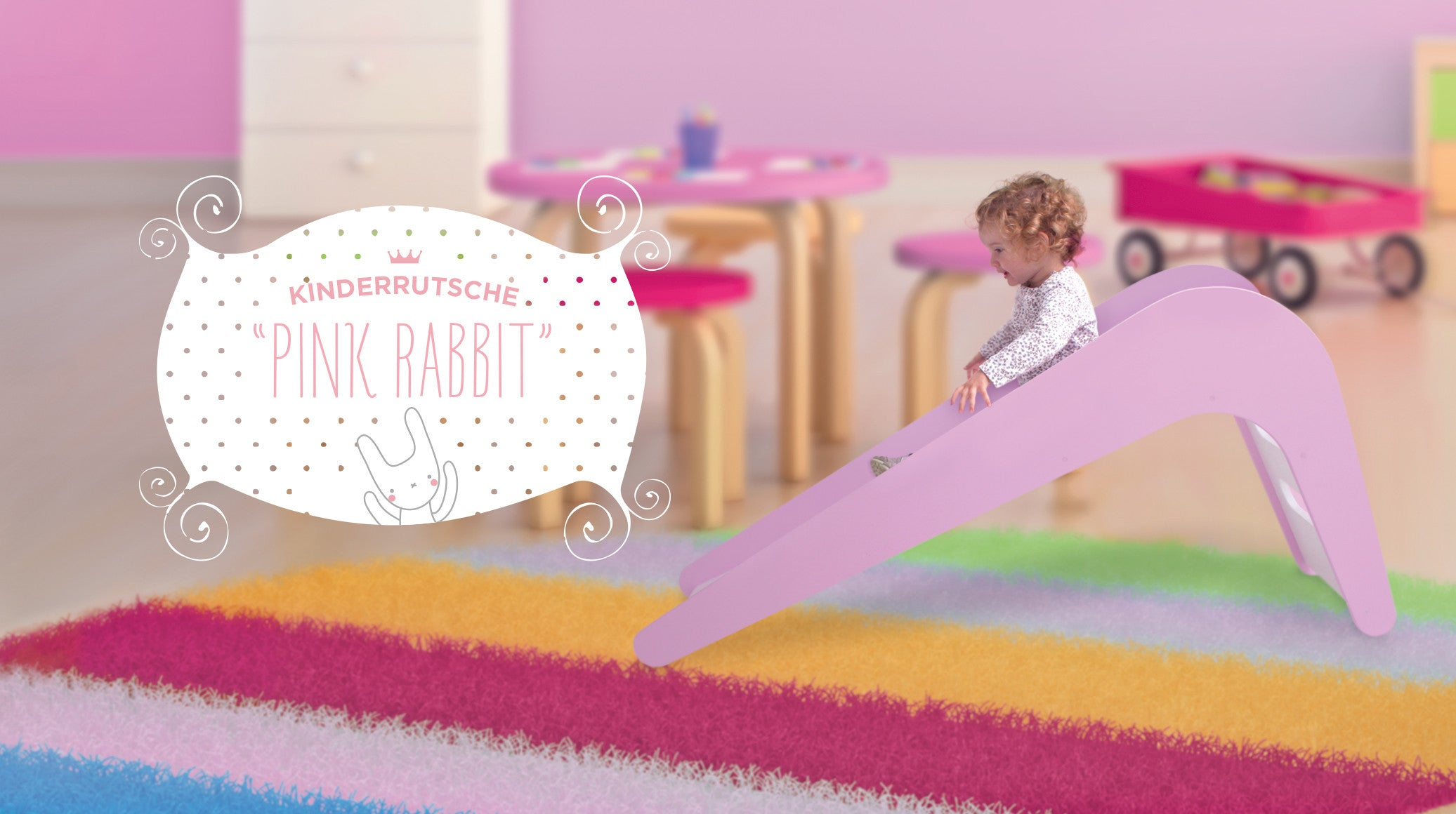 Children's Slide - Pink Rabbit