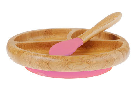 Bamboo Stay Put Suction Baby Divided Plate + Spoon (Pink)