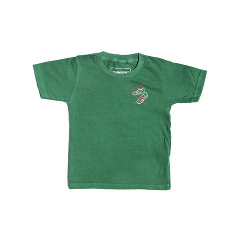 Pigment Dyed Embroidered T-Shirts (Green)