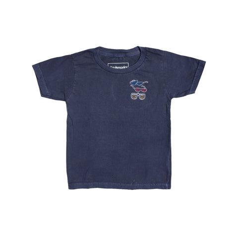 Pigment Dyed Embroidered T-Shirts (Navy)