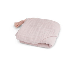 Baby Hooded Towel in Muslin - Powder Pink