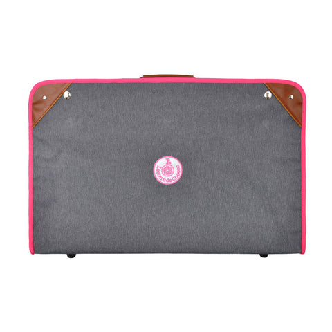 Foldable vintage suitcase grey and pink