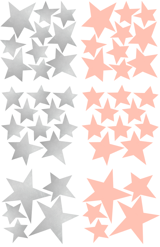 Wall Stickers - Stars (Pink & Silver)