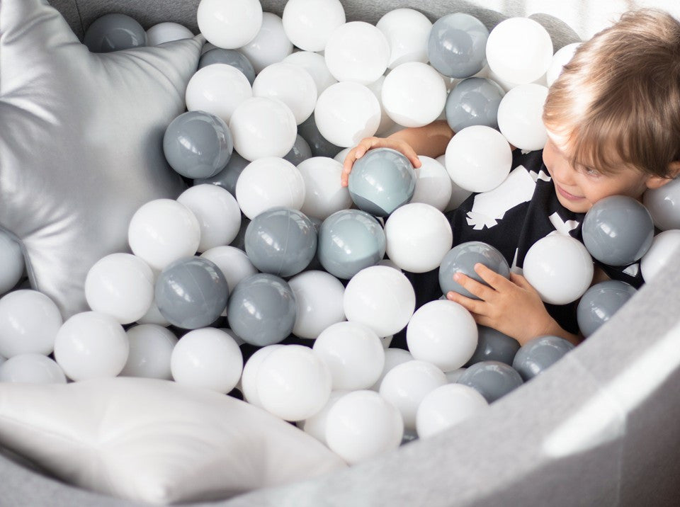 Ball Pit with 200 Balls - Light Grey 30cm