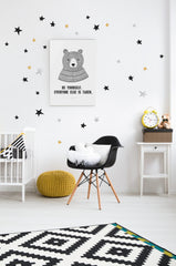 Wall Stickers - Stars (Black, Gold & Silver)