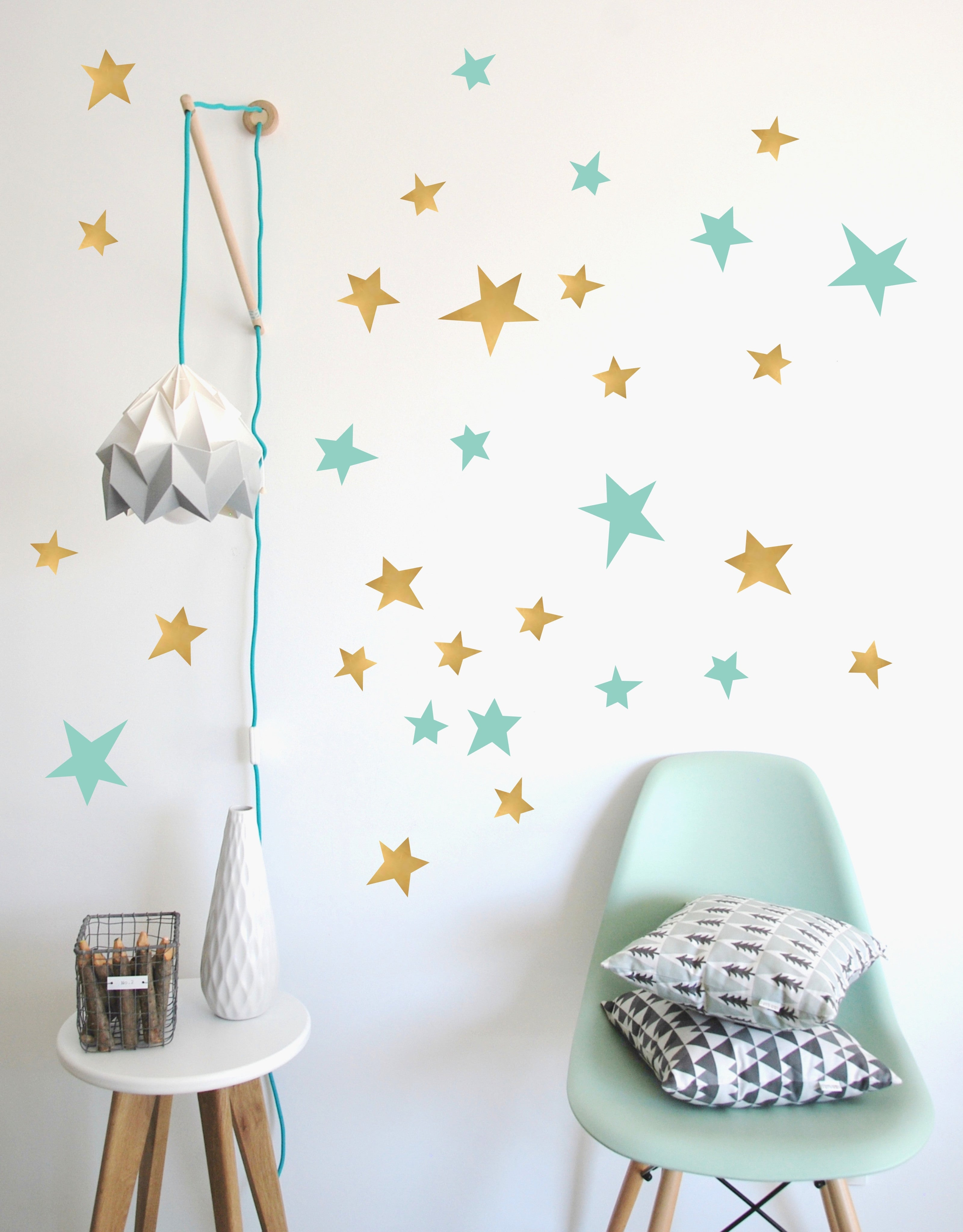 Wall Stickers - Stars (Gold & Mint)