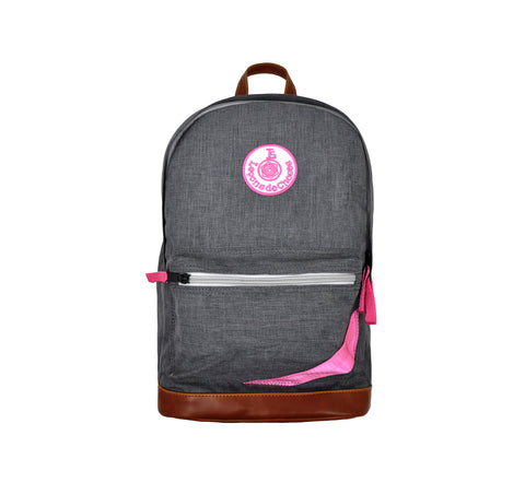 Retro backpack - heather gray and pink strip