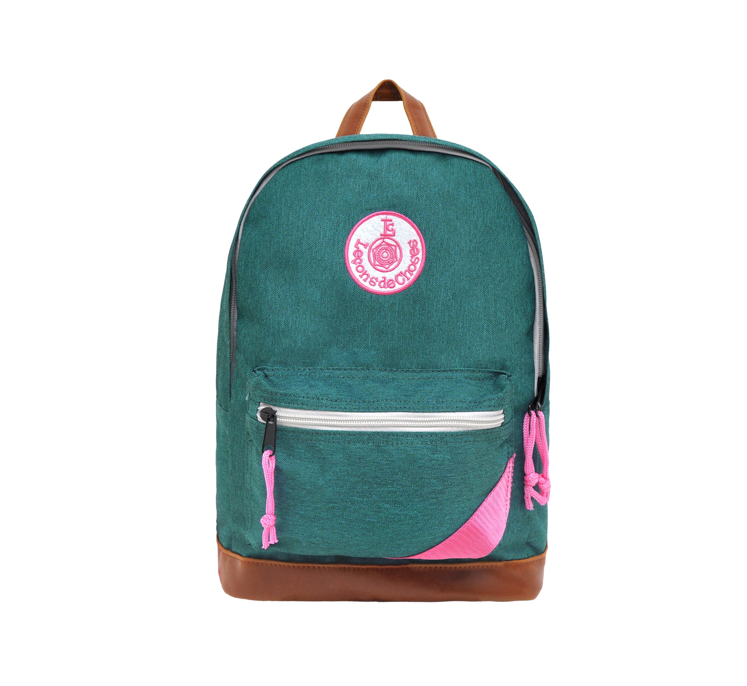 Retro backpack - green and pink strip