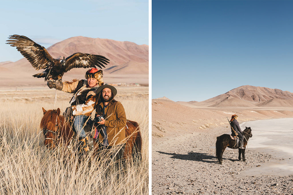 Stefan Haworth poses with mongolian tribe leader and hunting eagle ready to take flight from forearm