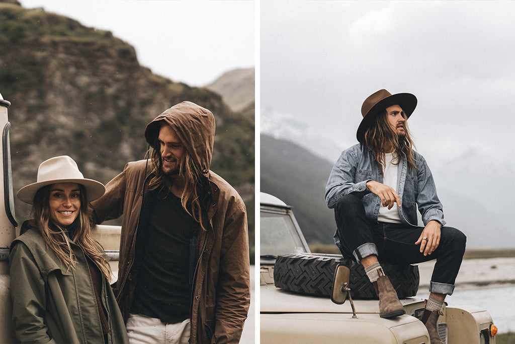 alt='Owners of Will & Bear standing outside vintage land cruiser parked at skippers canyon NZ wearing a Calloway Cream hat'