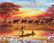 Elephant Sunset - Paint By Number Kit