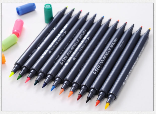 80 Color Dual Tip Aquarelle Watercolor Marker Set - .8mm / 2mm