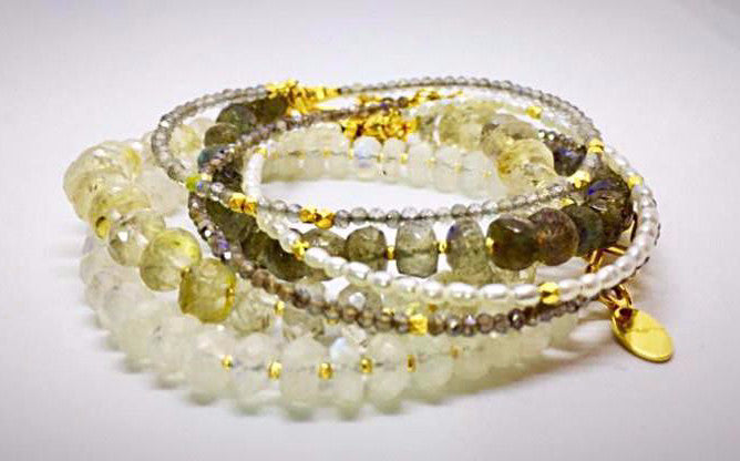 Stacking mix beaded gemstone bracelets