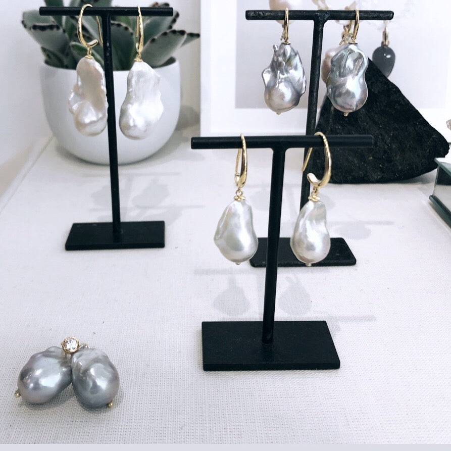 Baroque Pearl Studs display