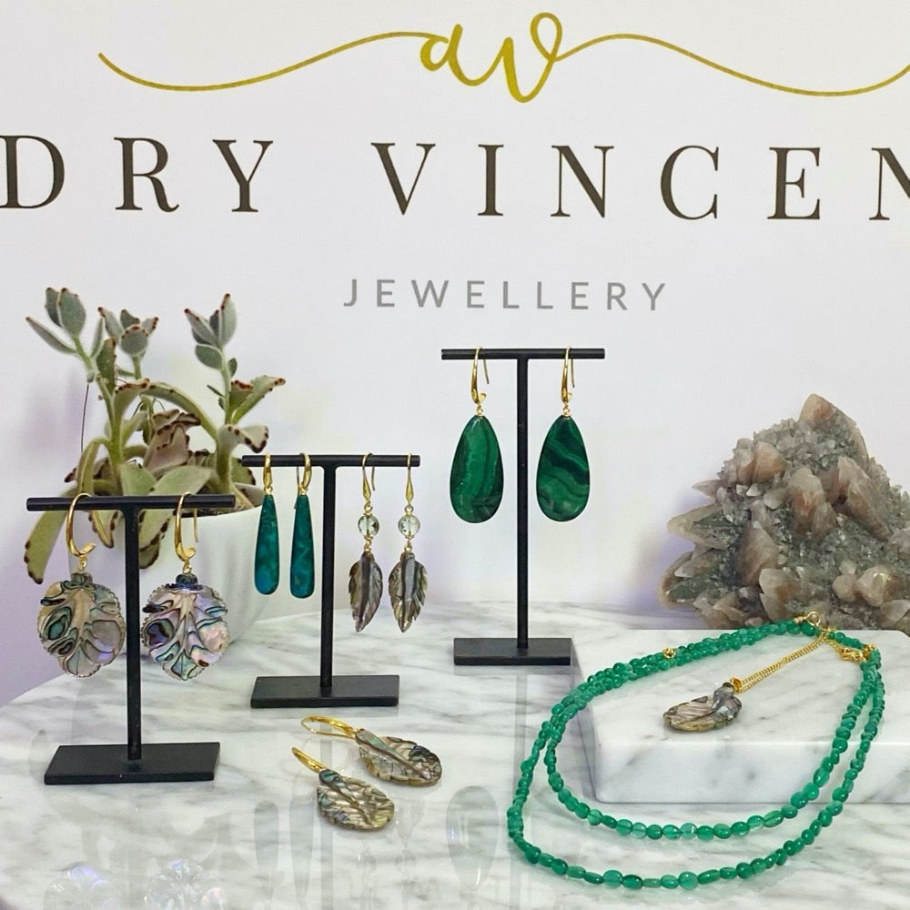 XL Malachite Earrings  with other jewellery