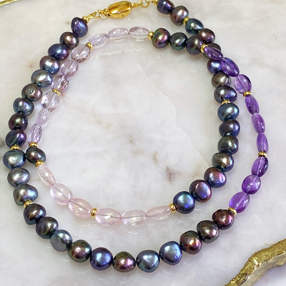 Amethyst, Pink Amethyst, Rose Quartz and Black Pearls Necklace