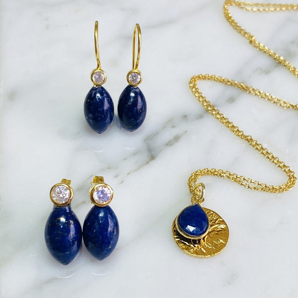 Lapis Lazuli Drops Stud Earrings and jewellery
