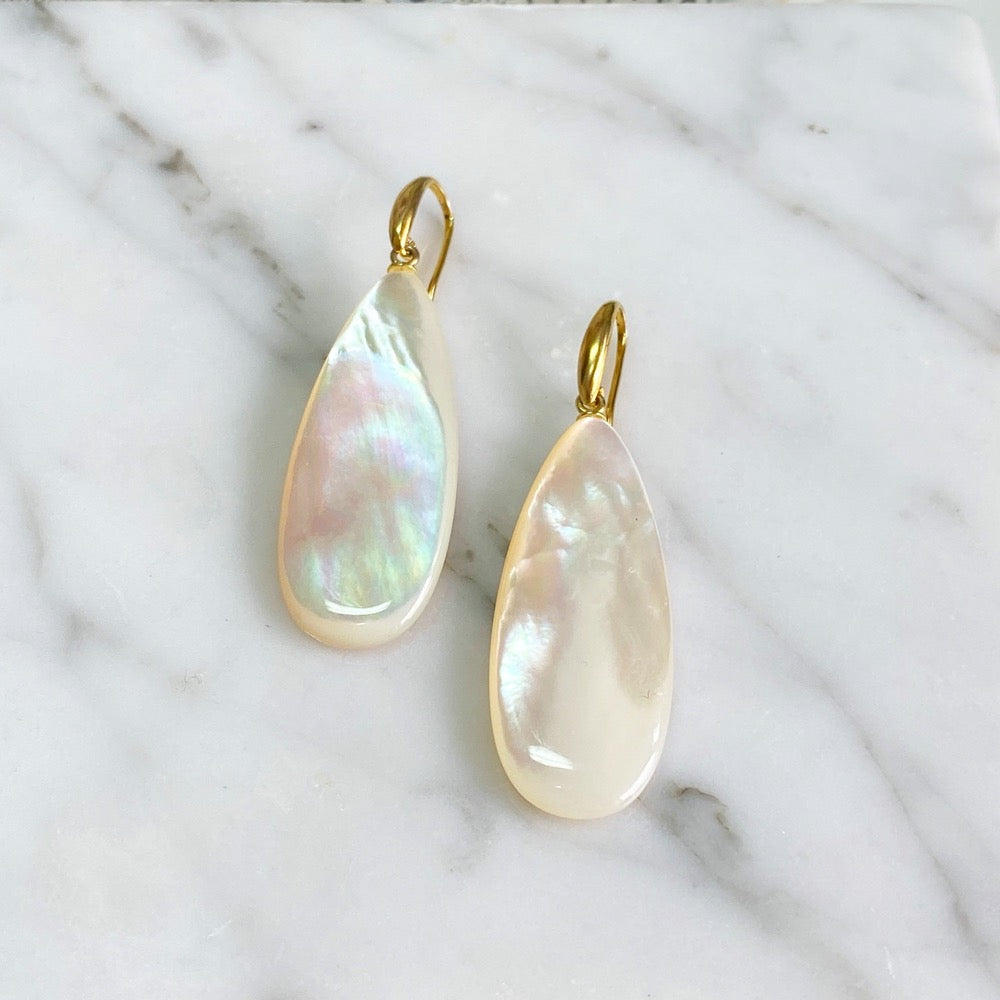 White Mother of Pearl Flat Drop Earrings