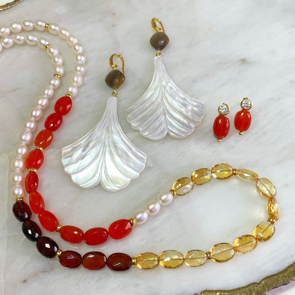 Carnelian, Citrine, Garnet and Fresh water Pearls Necklace