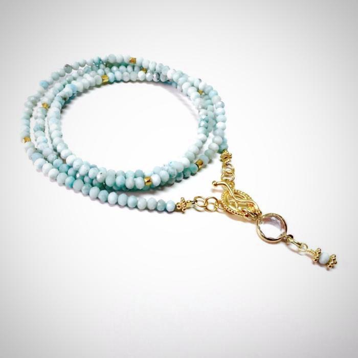 Larimar Long Beaded Necklace left
