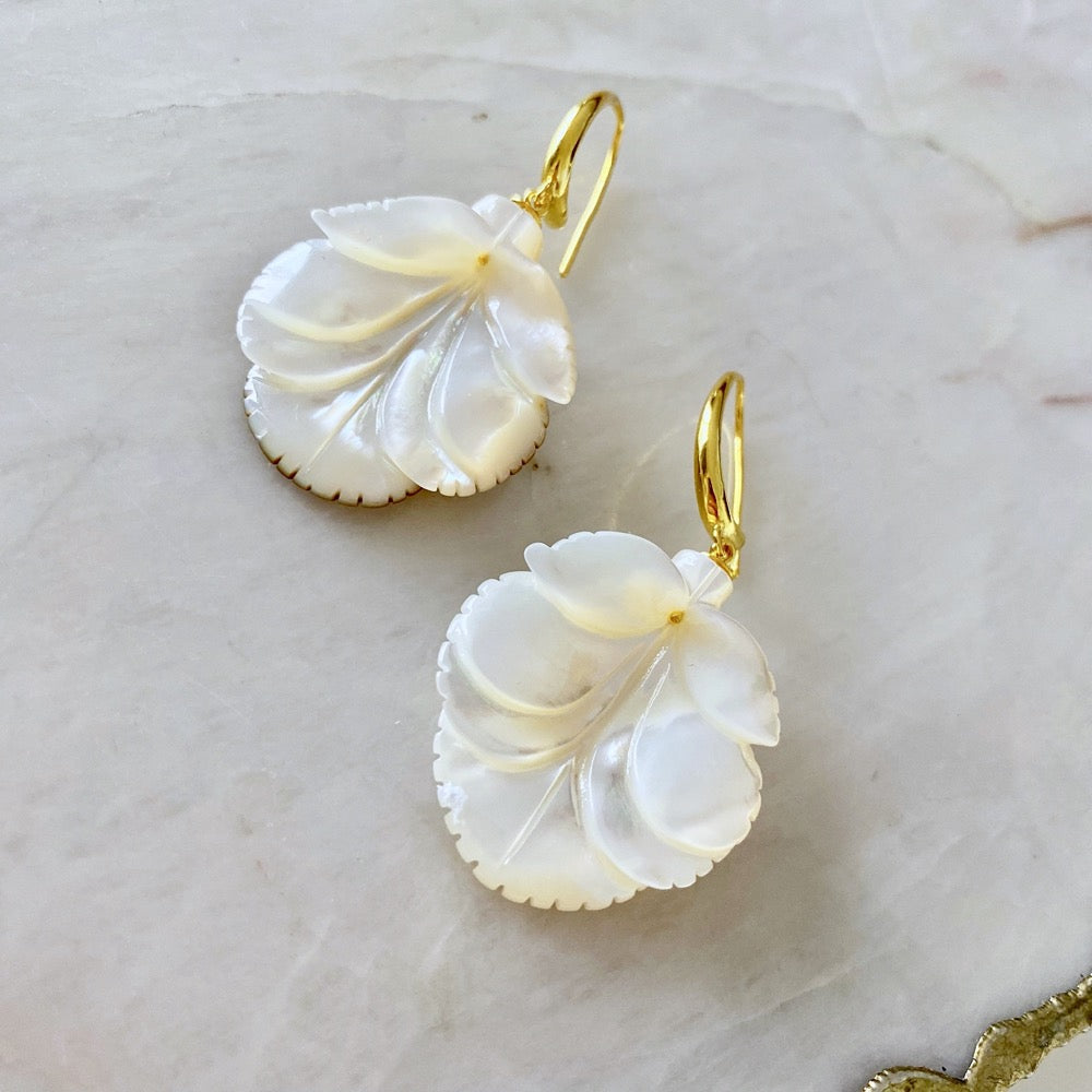 White Mother Of Pearl Ladybug Earrings
