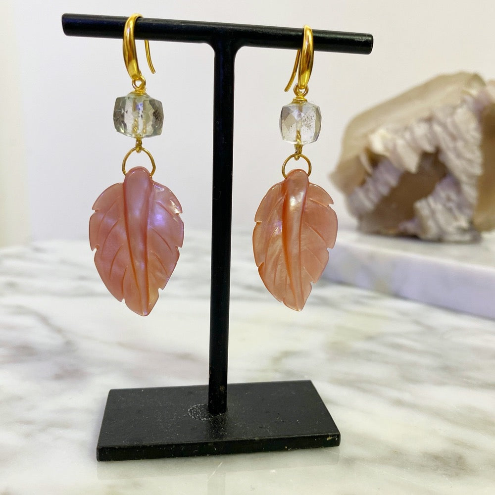 Pink Conch Mother Of Pearl Earrings on stand