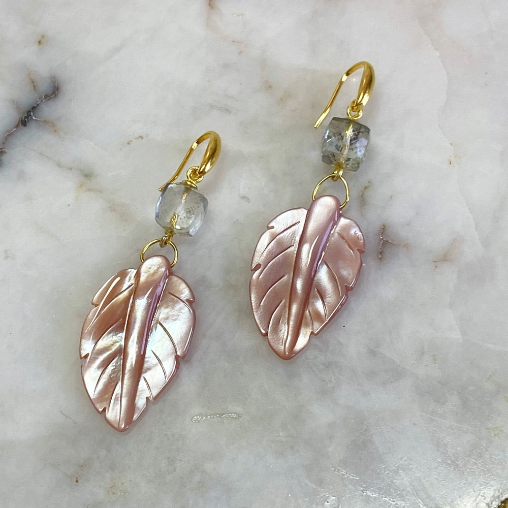 Pink Conch Mother Of Pearl Earrings