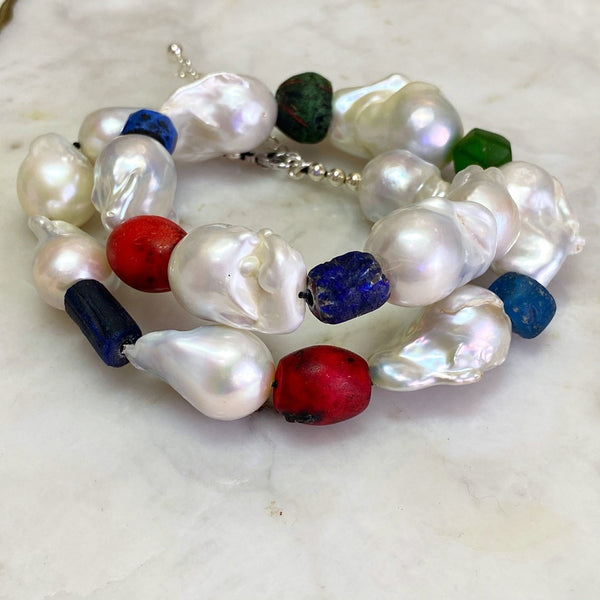 White Baroque Pearl and Ancient Beads Necklace
