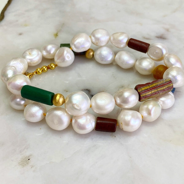 White Botton Pearls and Ancient Bead Necklace