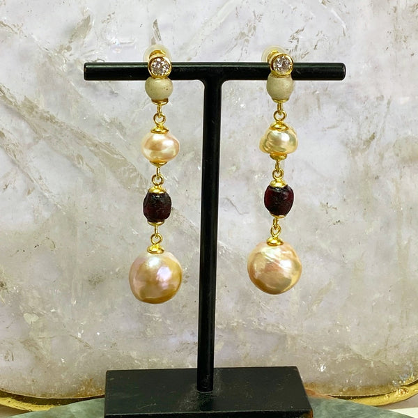 Ancient Roman Glass and Champagne Pearl Earrings
