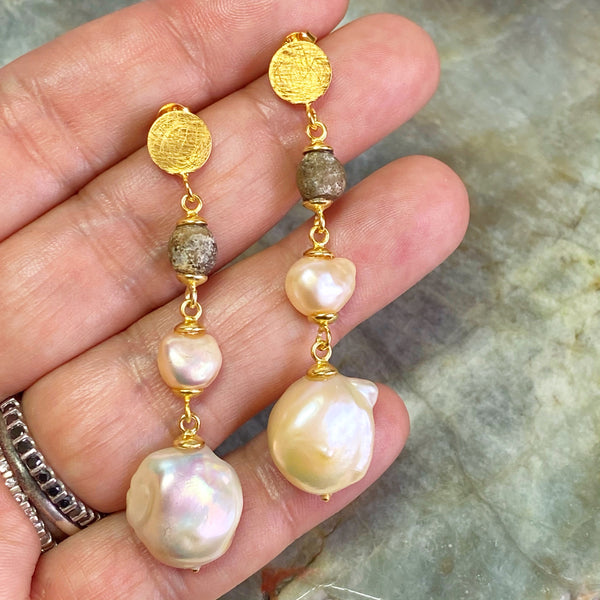 Champagne Pearls and Ancient Venetian Beads Earrings
